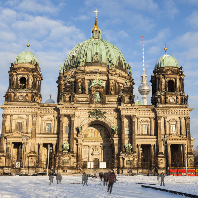 """""""Berlin Cathedral in snow"""" stock image"""