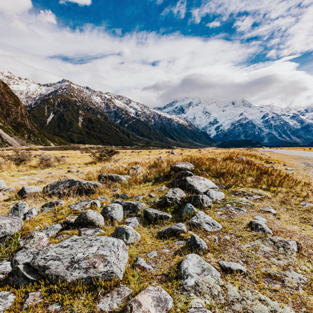 """New Zealand mountain landscape at day"" stock image"