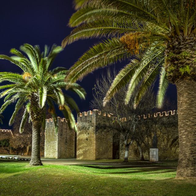 """City walls of Lagos, Portugal, illuminated at night"" stock image"