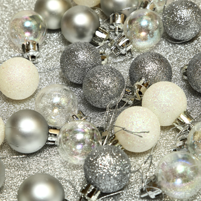 """""""Christmas tree baubles on a silver background"""" stock image"""