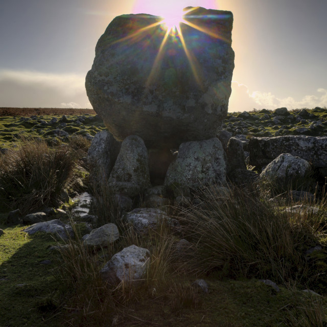 """Sun over Arthur's stone"" stock image"