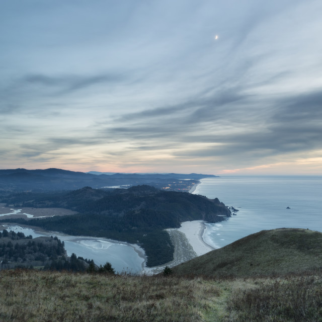 """The Moon Above Cascade Head"" stock image"