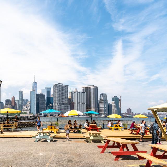 """""""Street food restaurant against skyline of New York"""" stock image"""