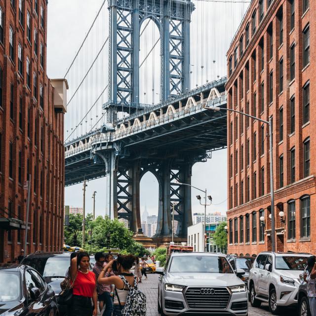 """Iconic view of Manhattan Bridge from Brooklyn"" stock image"