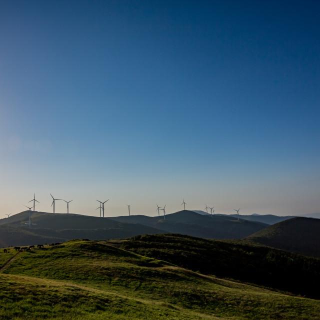 """Landscape view with wind turbines, Buzludzha"" stock image"