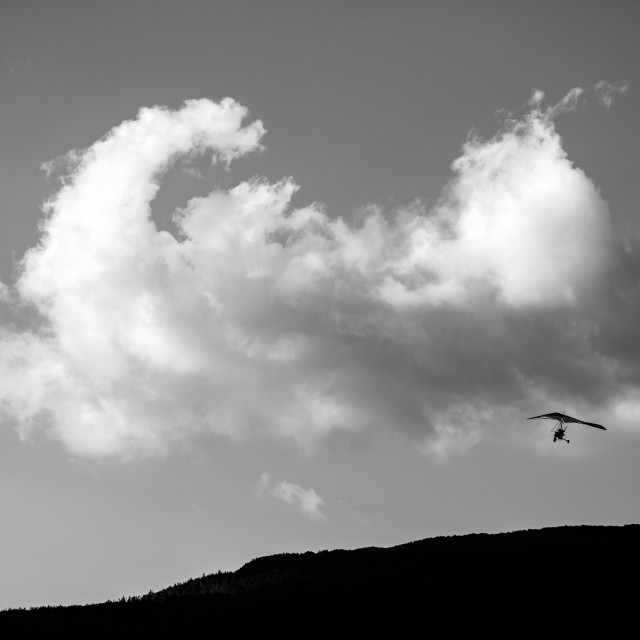 """Tandem motor-paragliding, black and white picture"" stock image"