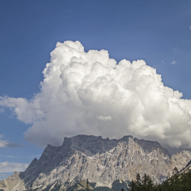 """Zugspitze with cloud hat"" stock image"