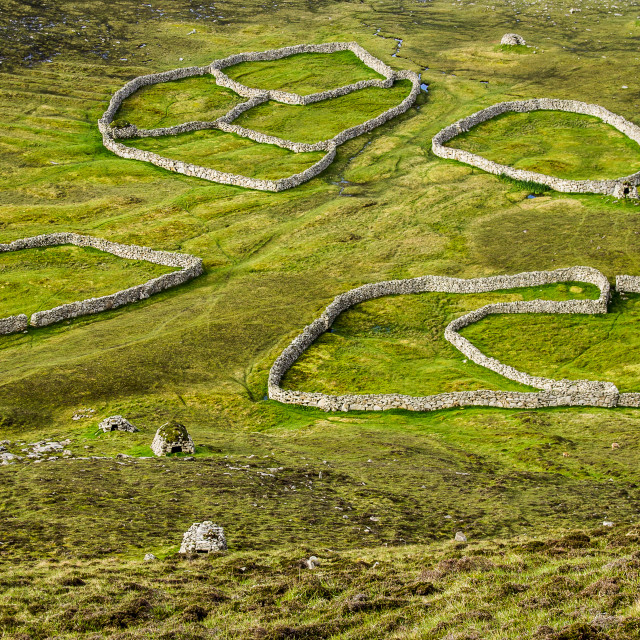 """The abandoned sheepfolds of St Kilda."" stock image"