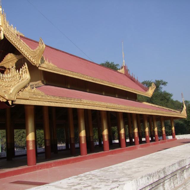 """Wooden Building, Mya Nan Son Kyaw Palace"" stock image"