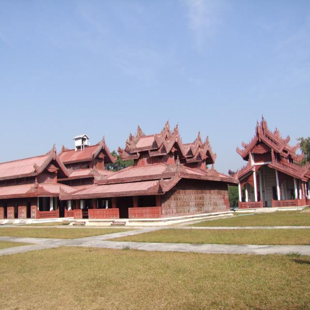 """""""Buildings at the Mya Nan Son Kyaw Palace"""" stock image"""