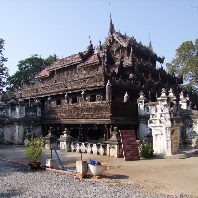 """Royal Palace of Shwe Nan Saw Kyaung Monastery"" stock image"