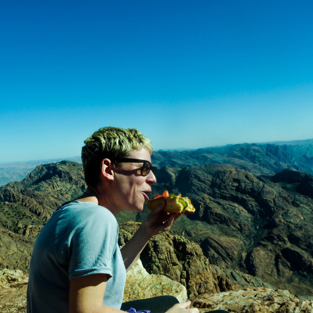 """""""SNACK WITH A VIEW"""" stock image"""