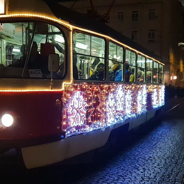 """Hungarian Christmas tram"" stock image"