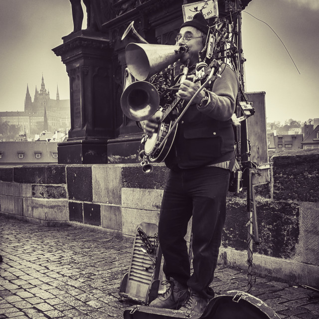 """Budapest busker"" stock image"