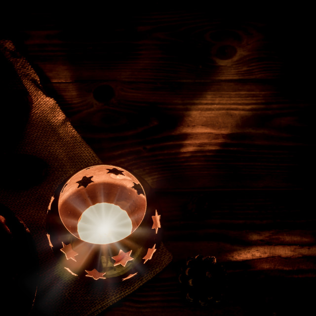 """""""Arabic lantern with candle at night for Islamic holiday. Muslim holy month Ramadan. The end of Eid and Happy New Year. Copy space on dark background. Christmas night."""" stock image"""