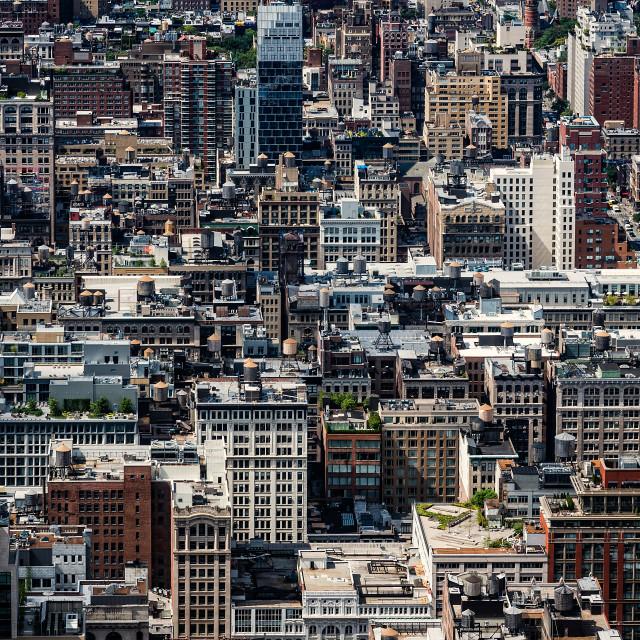 """Aerial view of buildings of Midtown of Manhattan in New York"" stock image"