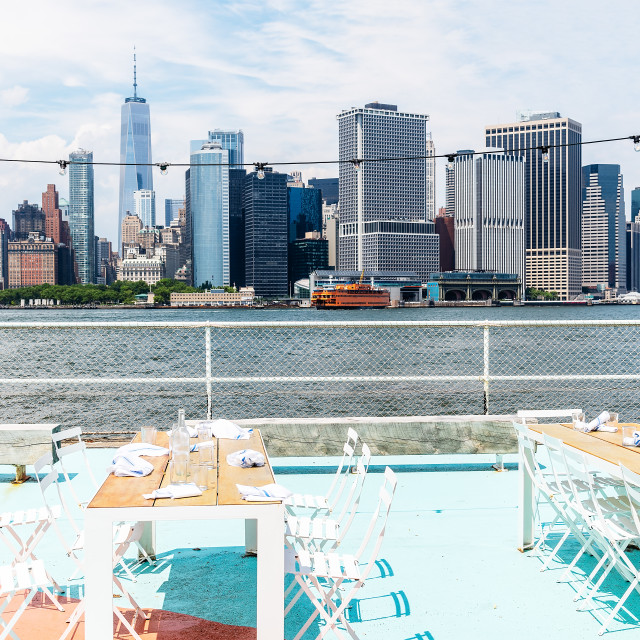 """""""Scenic view of the skyline of Downtown of Manhattan"""" stock image"""