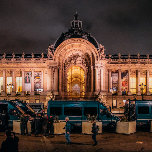 """""""French police vans in front of Petit Palais in Paris at night following..."""" stock image"""