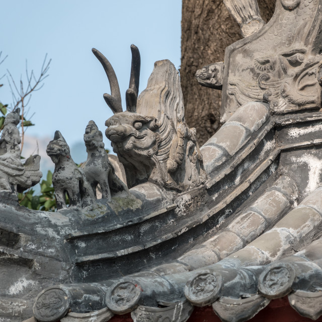 """""""Detail of roof of ancient Taoist temple at Laoshan near Qingdao"""" stock image"""