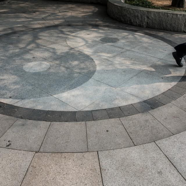 """""""Yin Yang symbol on floor at Taoist temple at Laoshan near Qingdao"""" stock image"""