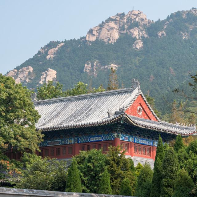 """Ancient Taoist temple at Laoshan near Qingdao"" stock image"