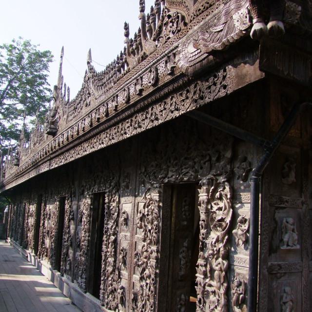 """Carved Wall of Shwe Nan Daw Kyaung Monastery"" stock image"