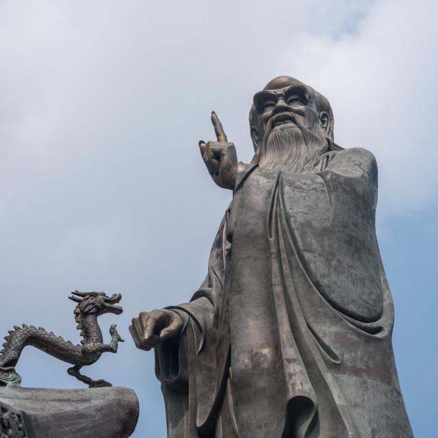"""Dragon by statue of Lao Tze at Laoshan near Qingdao"" stock image"