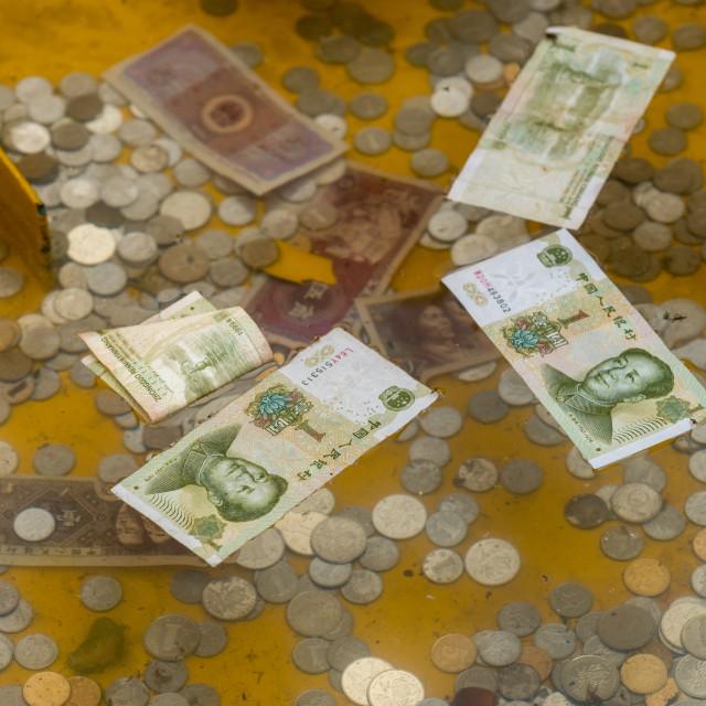 """Cash donations at Laoshan near Qingdao"" stock image"