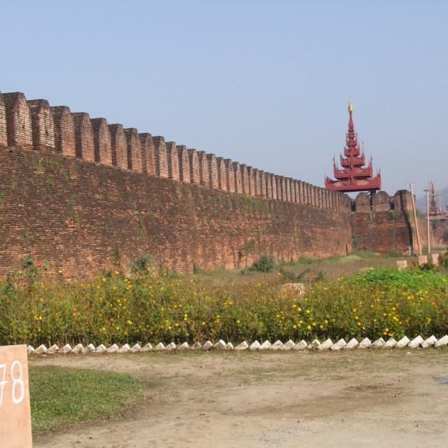 """""""Royal Palace Walls, Mandalay"""" stock image"""