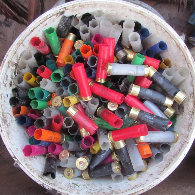 """Bucket of Cartridges"" stock image"