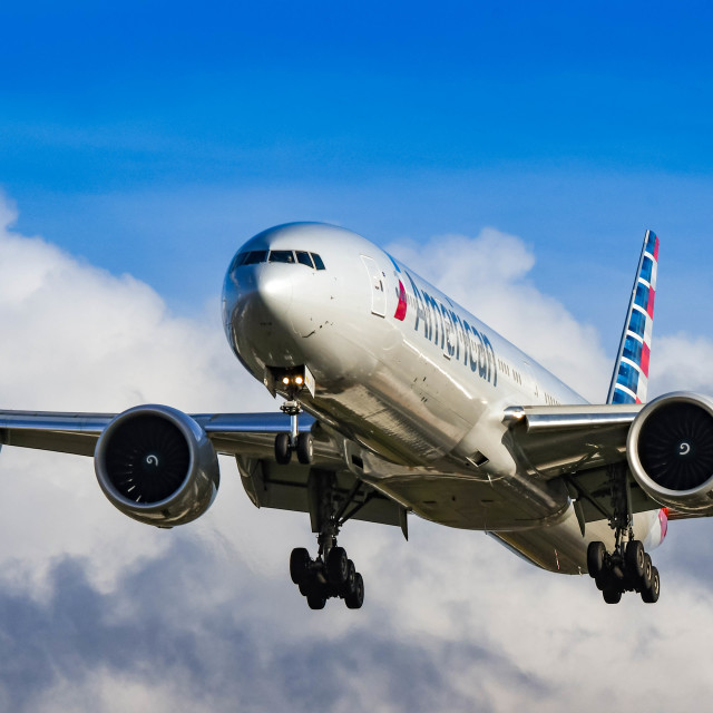"""""""American Airlines Boeing 777 jet"""" stock image"""