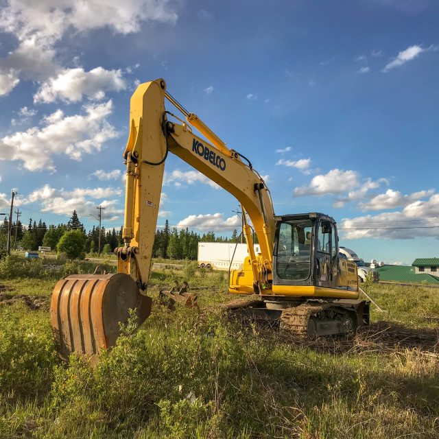 """""""Excavator with crawler tracks on a plot of land"""" stock image"""