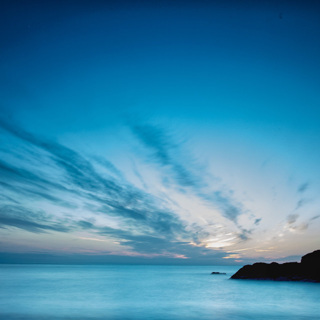 """Sunset at Heddon's mouth beach"" stock image"