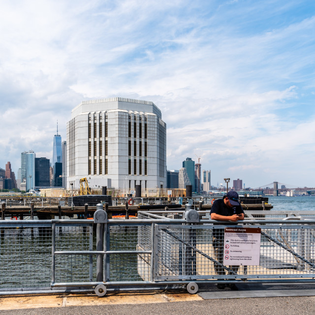"""""""Harbor of Governors Island against skyline of New York"""" stock image"""