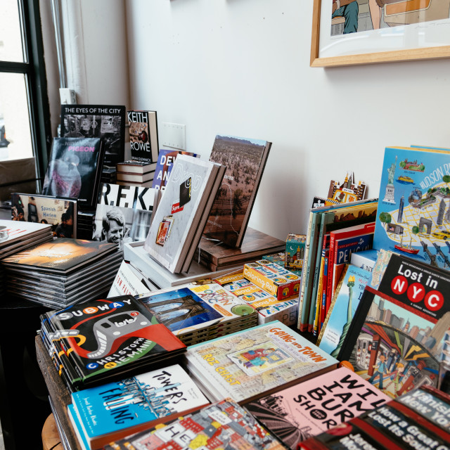 """""""Interior view of hipster Bookstore in Brooklyn"""" stock image"""