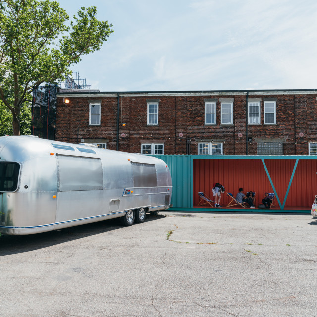 """""""Food truck in promenade in Governors Island"""" stock image"""
