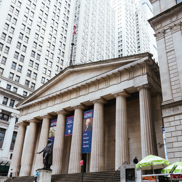 """""""Low angle view of Federal Hall National Memorial building in Ne"""" stock image"""