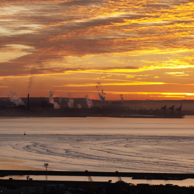 """Sunrise over Port Talbot"" stock image"