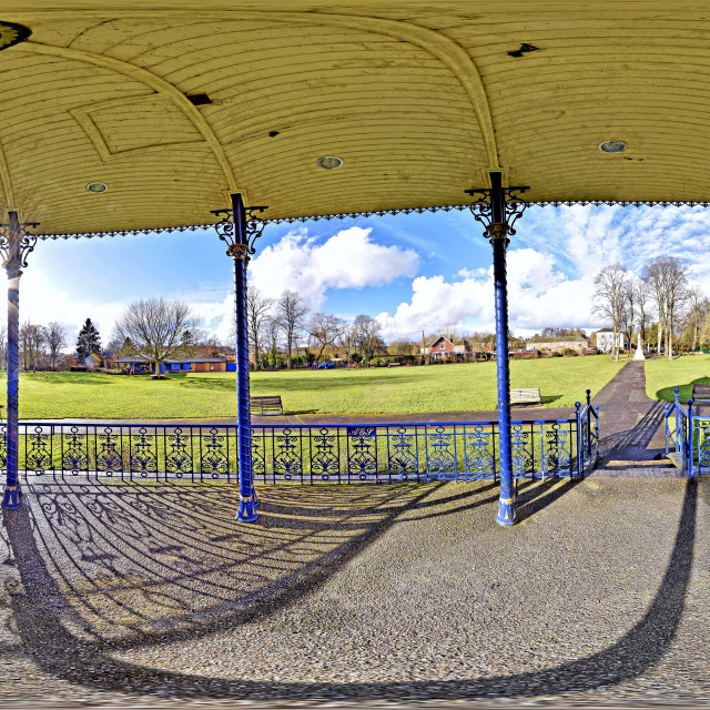 """""""War Memorial Park and Gardens from inside a Victorian style bandstand Romsey, England"""" stock image"""