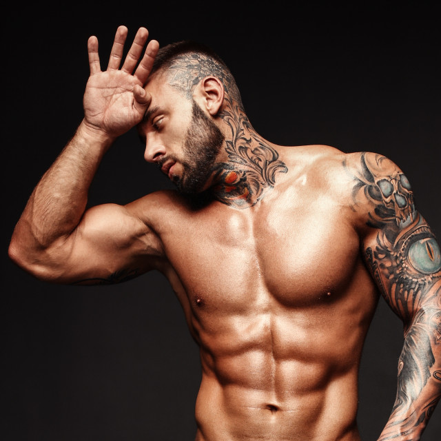"""Banner image of sexy man with muscular body. Portrait of sexi male model. Hot..."" stock image"
