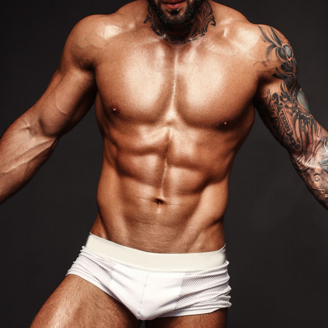 """Bodybuilder with muscle torso. Banner image of sexy man with muscular body...."" stock image"