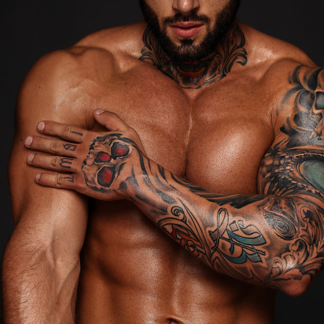 """""""Bodybuilder with muscle torso. Banner image of sexy man with muscular body...."""" stock image"""