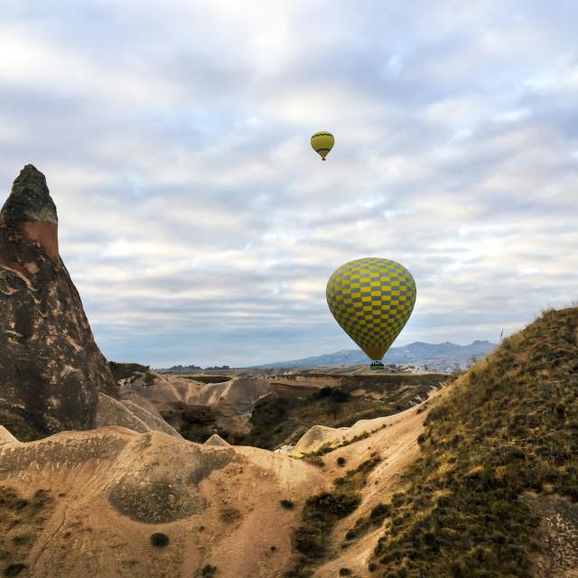 """""""Hot air balloon fly over Cappadocia, Turkey"""" stock image"""