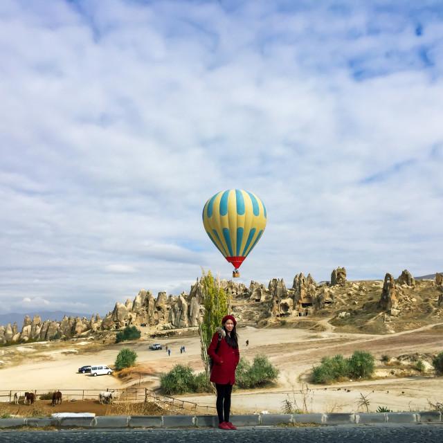 """Asian tourist in Cappadocia in Turkey"" stock image"