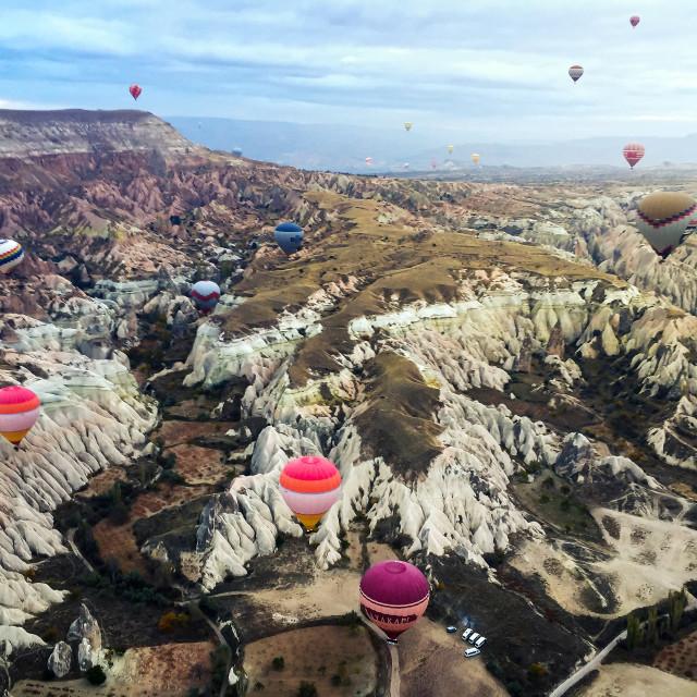 """Hot air balloons flying over Cappadocia, Turkey"" stock image"