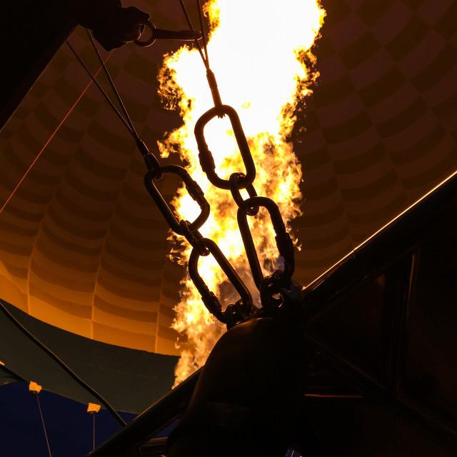 """""""Hot air balloon inhaling close up"""" stock image"""