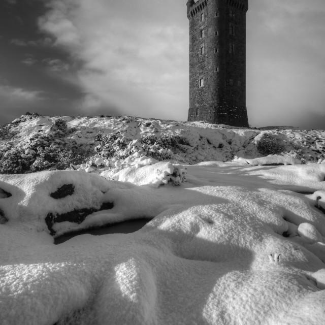 """""""Scrabo in the Snow"""" stock image"""