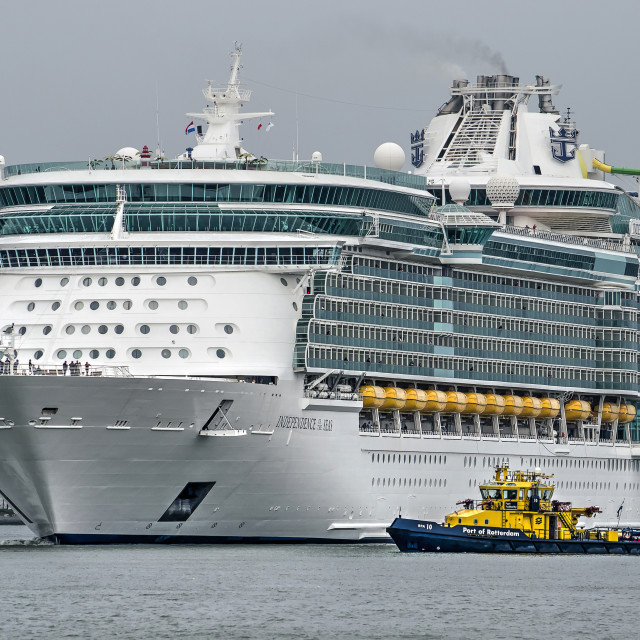 """""""Cruise ship and port authority vessel"""" stock image"""