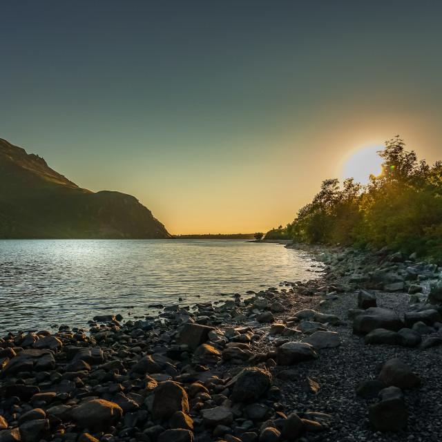 """SUNDOWN AT THE LAKE"" stock image"