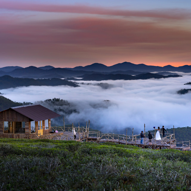"""""""A group of photographers is doing a wedding photography in Dalat town,"""" stock image"""